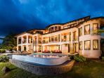 Evening sky lights up this luxury Villa at sunset