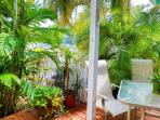 Private and serene back patio perfect for morning coffee or a cold beverage; grill for use at beach.