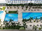 Inviting view of the pools from the balcony