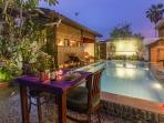 Guesthouse with Private Pool at night. Nice place to enjoy your evening supper...