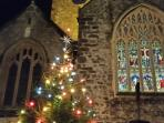 St Mary's Church, Tudor Square 25 metres from property.  Christmas 2015.