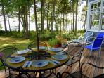 Enjoy breakfast on the deck overlooking Casco Bay islands.