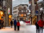 The stunning, unspoilt village centre of Samoens under fresh snow.