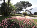 One of the many parks along the Promenade Fleuri, the flowered walkway that runs miles along lake