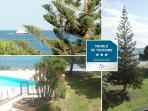 VUE DE LA TERRASSE : parc, piscine, plage, mer...