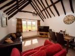 The Cider Barn has stunning views, vaulted ceiling and a 50in HD Smart TV