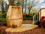 The Hot tub, filled with fresh water and wood fired all included in the price