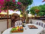 Private furnished patio perfect for alfresco dining