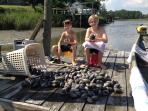 Our grand kids love to clam off the dock in the summer