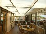 The conservatory area of the Nab Bar where pets are welcome to join you for a meal.