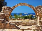 Many World heritage sites are located in the Paphos area, Tombs of the Kings, Kourian,  the mosaics