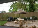 Grill, tables and chairs