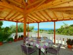 Lovley covered terrace seating area, stunning views across the sea