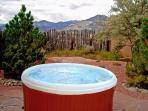 Enclosed yard with private hot tub and mountain views