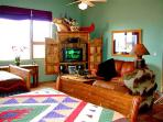 Watch satellite TV from 2 very solid Queen beds