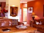 Ample plush seating for relaxing & socializing, tall viga ceiling + living room satellite TV