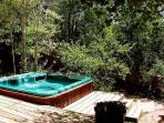 Large hot tub on terraced deck tucked away for added privacy