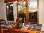 Dine and view panorama of Taos mountain