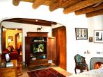 King Master with wood burning kiva fireplace and satellite TV
