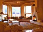 Bay window seat with mountain and horse pasture views