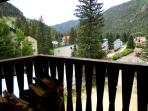 Balcony with panoramic Taos Ski Valley mountain views with famous Al's Run views