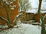 Winter in Adobe Hacienda's adobe wall enclosed private yard