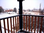 Panoramic winter views from the covered deck