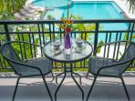 Private Balcony and patio overlooking the pool in all bedrooms