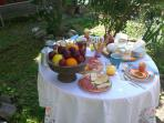 Una ricca colazione con prodotti bio - Breakfast in the nice garden with our biological products
