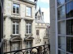 View of the 'fairytale' gate, Porte Cailhau, from living room