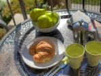 Upstairs balcony where guests can enjoy breakfast overlooking the from courtyard