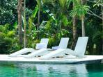 Sun deck bordering the 18 meter long infinity pool and surrounded by the lush tropical garden