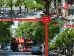 We are located in a tree-lined street. All the Athens sightseeing buses pass only a few meters away.