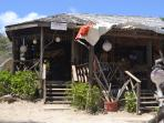 Marjory's Beach Bar on Cas en Bas Beach serving  local food with piton beer and rum!