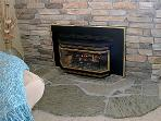 Relax and read a book next to the gas fireplace