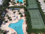 two giant pools, plus 2 day and night tennis courts