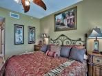 Luxurious master bedroom with walk in closet and private bath
