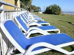 Lawn chairs for sunbathing