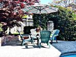 Umbrella, Patio Table-Chair Set in Backyard