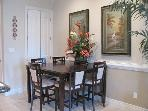 Enjoy your gourmet dinner or takeout in the dining area.