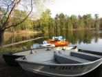 Row boat, canoe and Kayak are available with floatation jackets in cottage.