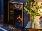 remote controlled gas fire for cosy nights in.