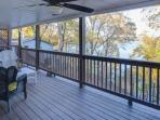 Stay cool on the lower deck with covered roof and fan.