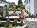 Pond, side garden and seating areas