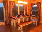 Custom-made cedar log dining table, seating for 10!
