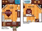 Floor Plan of Precious Moments 1 bedroom cabin