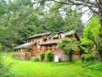 Back of redwood house