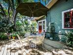 Our Bungalow back deck is shared space with cottage guests