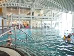 The indoor pool has dedicated lanes for swimming and a seperate childrens area