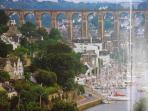 Morlaix  with its impressive  Viaduct, Marina, shops, restaurants and bars. 13 Km away.
